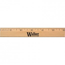 6 in. Clear Lacquer Beveled Wood Ruler Promotional Custom Imprinted With Logo