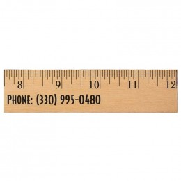 12 in. Clear Lacquer Wood Ruler Promotional Custom Imprinted With Logo
