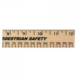 12 in. Clear Lacquer Wood Ruler - English & Metric Custom Imprinted With Logo