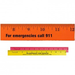 12 in. Fluorescent Wood Ruler Promotional Custom Imprinted With Logo