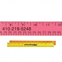 12 in. Fluorescent Wood Ruler - English and Metric Custom Imprinted With Logo