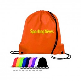 Poly Pro Drawstring Backpack Promotional Custom Imprinted With Logo