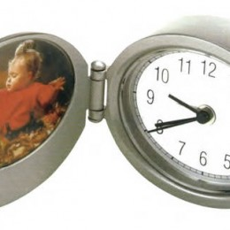 Photo Frame Alarm Clock-Oval Promotional Custom Imprinted With Logo