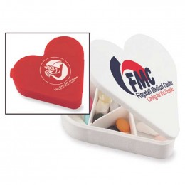 Heart Pill Box Promotional Custom Imprinted With Logo
