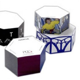 "4"" Hexagon Shape Sticky Note Cube - 800 Sheets Promotional Custom Imprinted"
