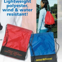Lightweight Drawstring Backsack Promotional Custom Imprinted With Logo