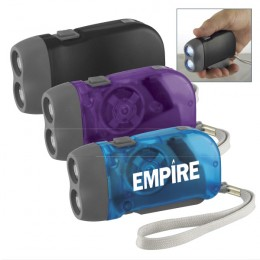 Hand-Powered Flashlight Promotional Custom Imprinted With Logo
