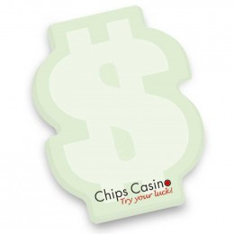 Adhesive Die Cut Notepad - Dollar Sign 4 x 3 50 Sheet Pad Promotional Custom Imprinted With Logo