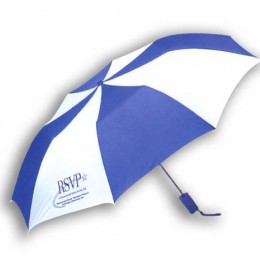 Automatic Folding Umbrella - Alternating Colors Custom Imprinted With Logo