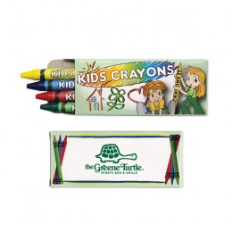 4 Pack Washable Crayons Promotional Custom Imprinted With Logo - Green