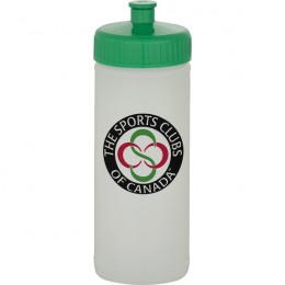 White Promotion Sport Bottle 16 oz - Natural with Green Lid