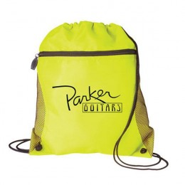Drawstring Backpack with Mesh Pocket – Lightweight Backpacks for Travel - Neon Yellow