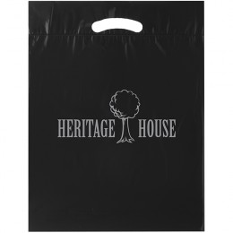 Custom Discount Bag with Gusset and Die Cut Handles - Black