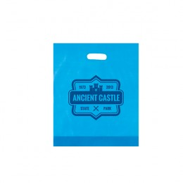 Promotional Frosted Plastic Bag-Die Cut-Colors-15x18 - Blue