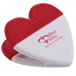 Promotional Heart-Shaped Power Clip - white/red