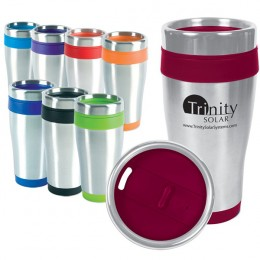 Promotional stainless steel travel tumbler with color accents and logo 16 oz