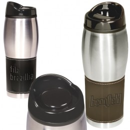 Debossed Stainless Steel Leather Tumbler