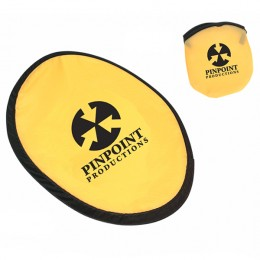 Custom Foldable Flying Disc and Pouch Promotional Giveaway - Yellow
