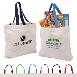 Medium weight canvas promotional cotton bag with contrast handles