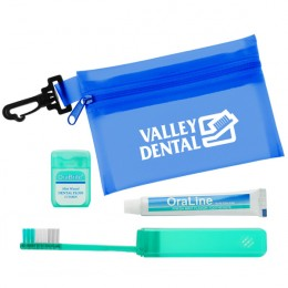 Oral Care Travel Kit-Zip Tote - blue