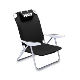 Black Monaco Polyester Beach Chair Logo