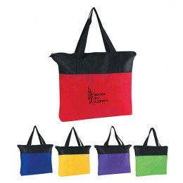 Custom Business Logo Imprinted Zippered Tote Bag - Non-Woven Zippered Tote