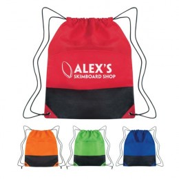 Non-Woven Two Tone Drawstring Sports Pack with Logo