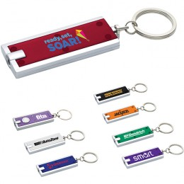 Promotional squeeze light with metal split key ring and LED bulb