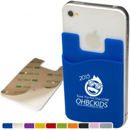 Silicone promotional adhesive cell phone wallet with removable adhesive tabs