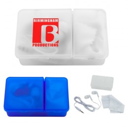Imprinted Case with Earbuds and Microfiber Cloth