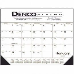 Black & White Desk Pad Calendar with Vinyl Corners