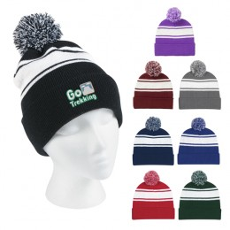 Pom Top wide stripe embroidered winter hat with logo - custom winter hats