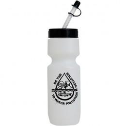 Custom Bike Water Bottle - Straw tip with cap - Promotional Giveaway Frost