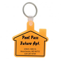 Soft Squeezable Key Tag - House Shaped - Yellow