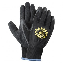 Black Knit Latex Rubber Palm Work Gloves
