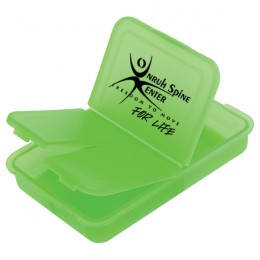 Slotted Pill Box with Custom Imprint - Neon Green