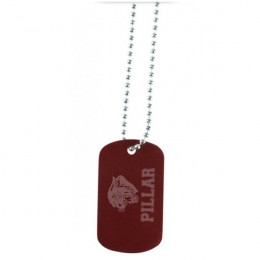 Promotional Engraved Color Dog Tag Necklace - Red