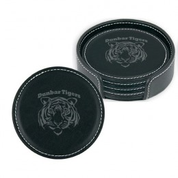 Engraved Black Round Leather Coaster Set