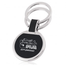 Circular Black Engraved Key Chain - Double Rings