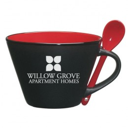 Promotional Engraved Black and Red Soup Mug 'n Spoon