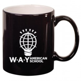 Classic Engraved Black Ceramic Mug 11 Oz
