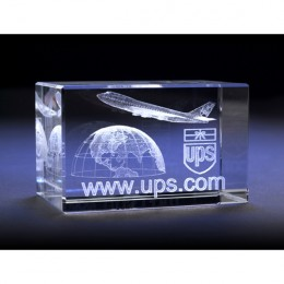 Rectangular Optical Crystal Block Etched with Logo