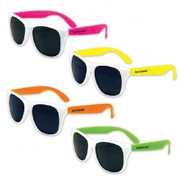 Imprinted White Frame Kids Neon Sunglasses