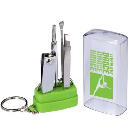Manicure Set with Imprinted Key Ring - Lime green