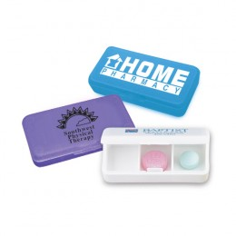 All Day 3-Compartment Pill Box Promotional Custom Imprinted With Logo