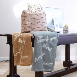 Custom Embroidered Thank You Velura Throw Blanket toffee