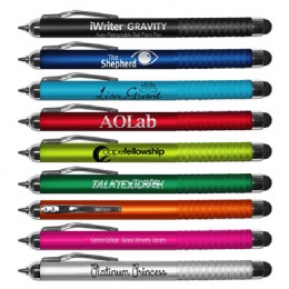 Imprinted iWriters Auto Retractable Gravity Pen/Stylus