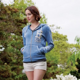 Angel Fleece Sanded Hoodie with Logo blue