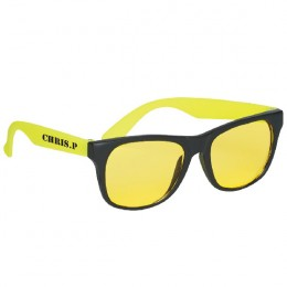 Promotional Tinted Lenses Rubberized Sunglasses - Yellow