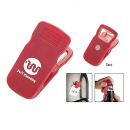 Magnetic Bottle Opener Clip with Logo - Red